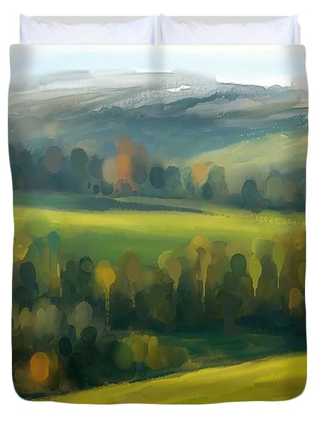 Duvet Cover featuring the painting Rich Landscape by Ivana Westin