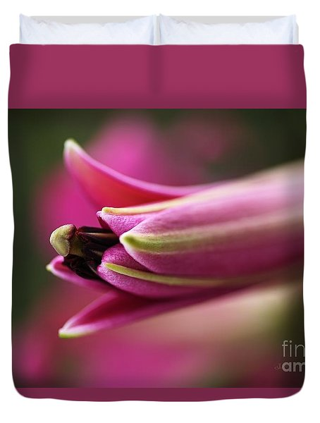 Rich Pink Lily Bud Duvet Cover by Joy Watson