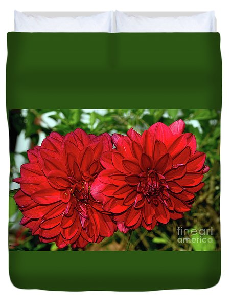 Duvet Cover featuring the photograph Rich Red Dahlias By Kaye Menner by Kaye Menner