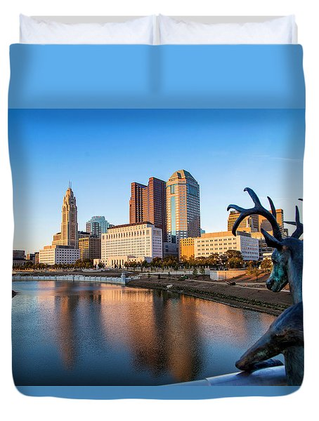 Rich Street Bridge Columbus Duvet Cover