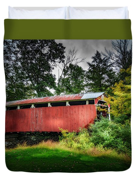 Duvet Cover featuring the photograph Richards Covered Bridge by Marvin Spates