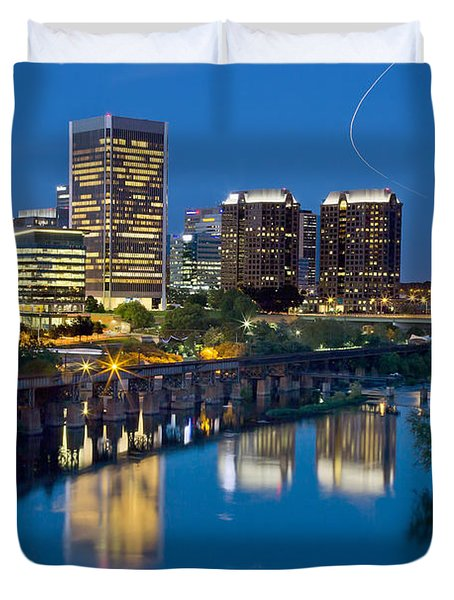 Richmond Skyline Helo Trail Duvet Cover