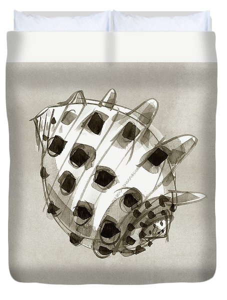 Duvet Cover featuring the painting Ricinus Drupe - Back by Judith Kunzle
