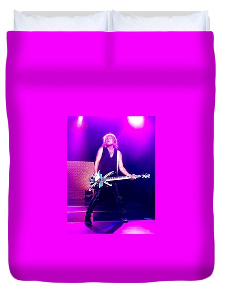 Rick Savage Of Def Leppard Duvet Cover by David Patterson