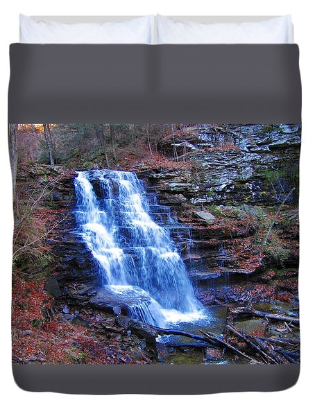 Ricketts Glen Waterfall 3941  Duvet Cover