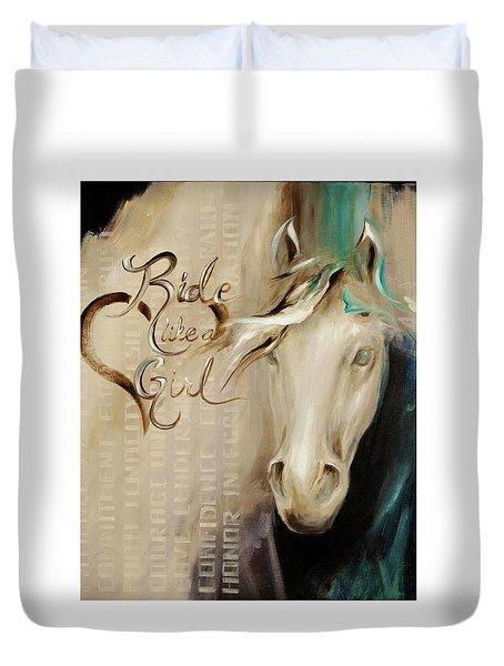 Ride Like A Girl 16x20 Duvet Cover