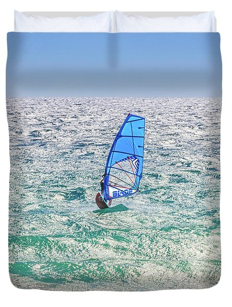 Ride The Waves, Scarborough Beach Duvet Cover