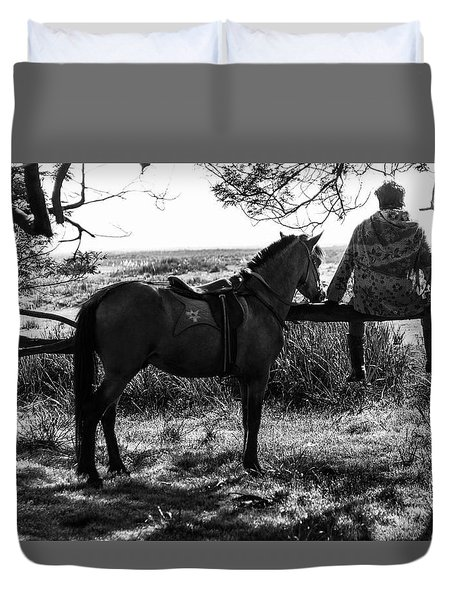 Duvet Cover featuring the photograph Rider And Horse Taking Break by Pradeep Raja Prints