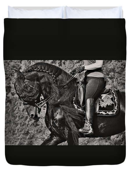 Duvet Cover featuring the photograph Rider And Steed Dance D6032 by Wes and Dotty Weber