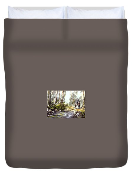 Rider By The Creek Duvet Cover