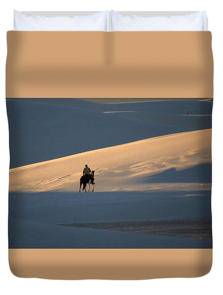 Rider In The Sand #5 Duvet Cover by Cindy McIntyre