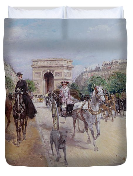 Riders And Carriages On The Avenue Du Bois Duvet Cover