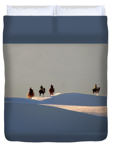 Riders In The Sand #2 Duvet Cover by Cindy McIntyre