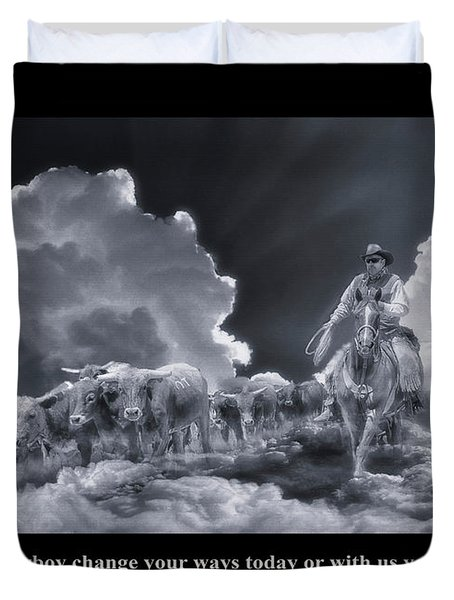 Riders In The Sky Bw Duvet Cover