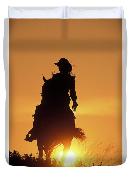 Riding Cowgirl Sunset Duvet Cover