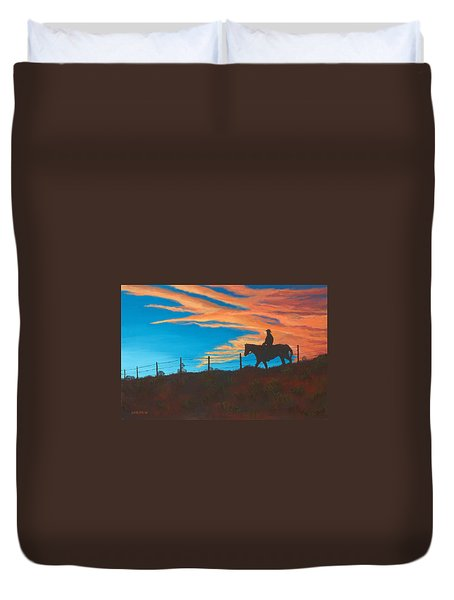 Riding Fence Duvet Cover by Jerry McElroy
