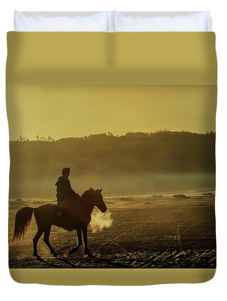 Duvet Cover featuring the photograph Riding His Horse by Pradeep Raja Prints