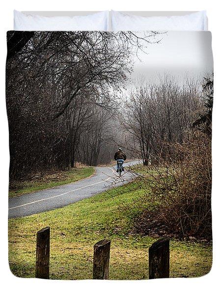 Riding Into The Fog Duvet Cover