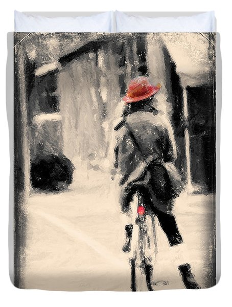 Riding My Bicycle In A Red Hat Duvet Cover