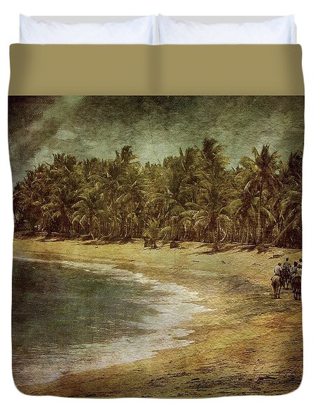 Riding On The Beach Duvet Cover