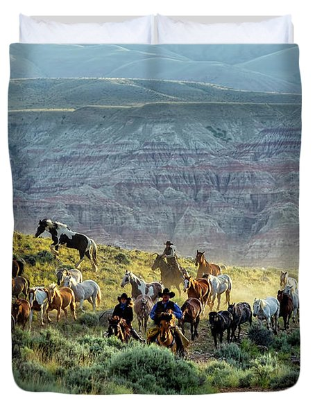 Riding Out Of The Sunrise Duvet Cover