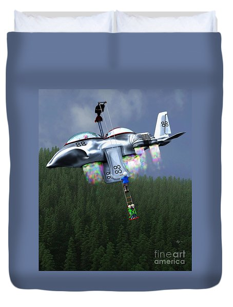 Duvet Cover featuring the painting Riding The Lift by Dave Luebbert