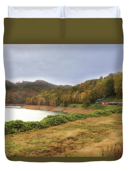 Duvet Cover featuring the digital art Riding The Rails by Sharon Batdorf