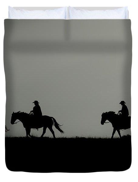 Riding The Range At Sunrise Duvet Cover