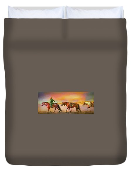 Duvet Cover featuring the digital art Riding The Surf by Kari Nanstad