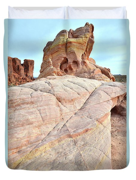 Duvet Cover featuring the photograph Riding The Wave In Valley Of Fire by Ray Mathis