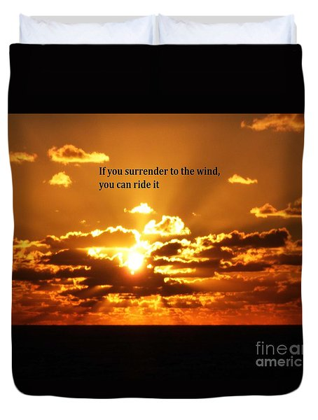 Duvet Cover featuring the photograph Riding The Wind by Gary Wonning