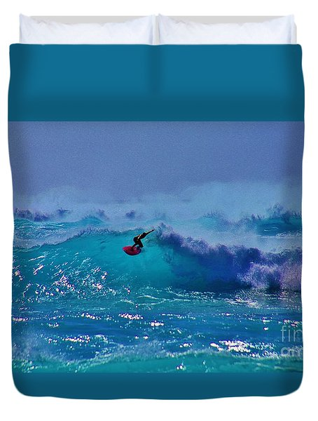 Riding The Winter Surf Duvet Cover by Craig Wood