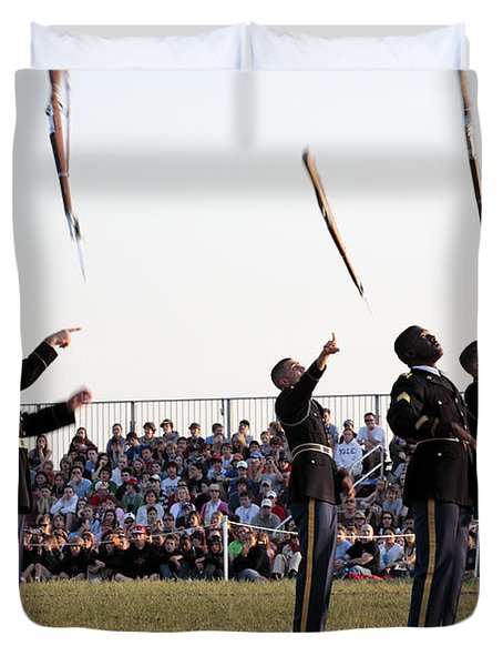 Rifle Toss By The Old Guard At The Twilight Tattoo  In Washington Dc Duvet Cover