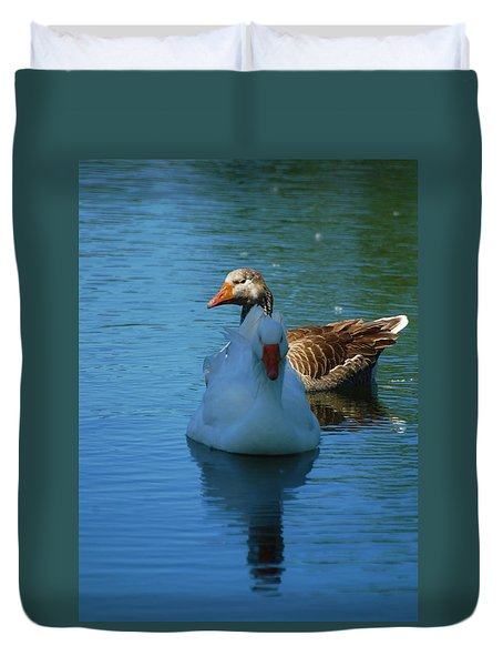 Duvet Cover featuring the photograph Right Behind You Babe by Ramona Whiteaker