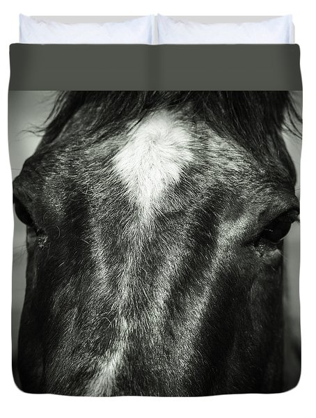 Duvet Cover featuring the photograph Right Between The Eyes by Jason Moynihan