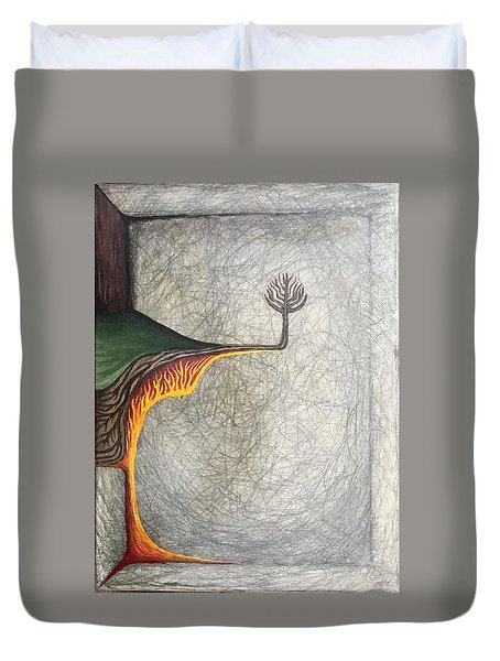 Duvet Cover featuring the mixed media Right Universe by Steve  Hester