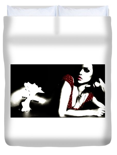 Duvet Cover featuring the digital art Rihanna In Red by Brian Reaves