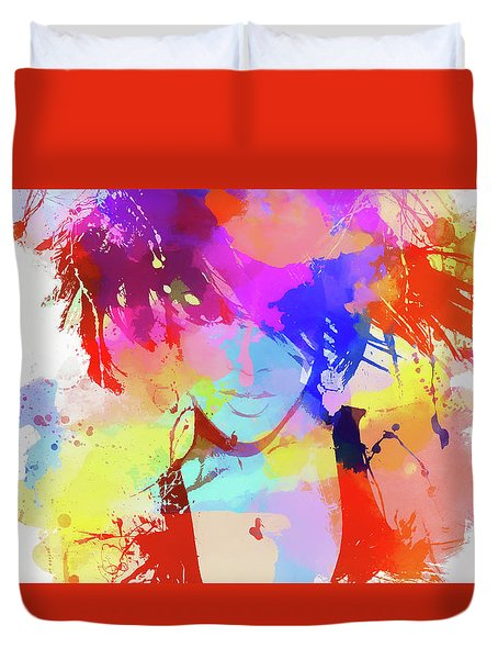Rihanna Paint Splatter Duvet Cover by Dan Sproul