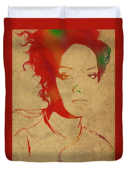 Rihanna Watercolor Portrait Duvet Cover