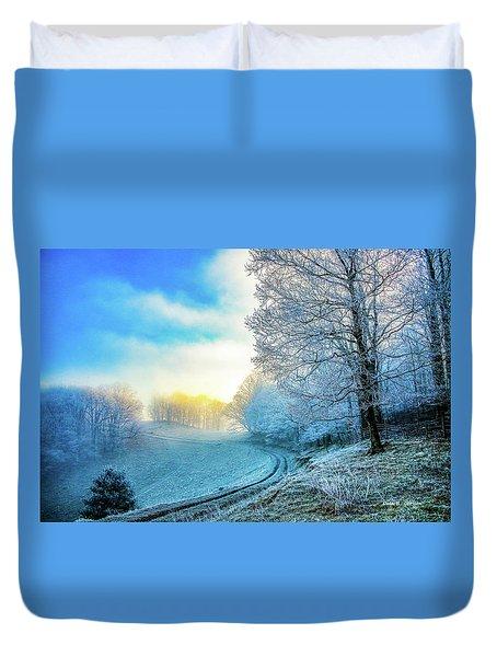 Rime Ice Sunrise Duvet Cover