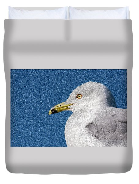 Duvet Cover featuring the mixed media Ring-billed Gull Oil Portrait by Onyonet  Photo Studios