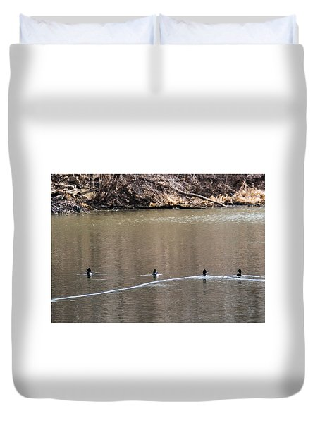 Ring-necked Duck Formation Duvet Cover by Edward Peterson
