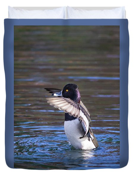 Ring-necked Duck Wings Up Duvet Cover
