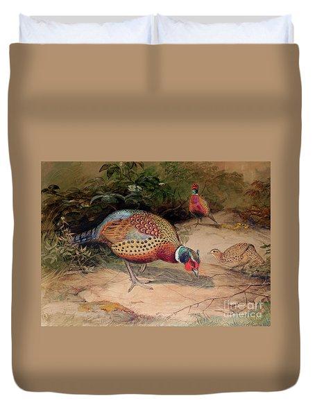 Ring Necked Pheasant Duvet Cover by Joseph Wolf
