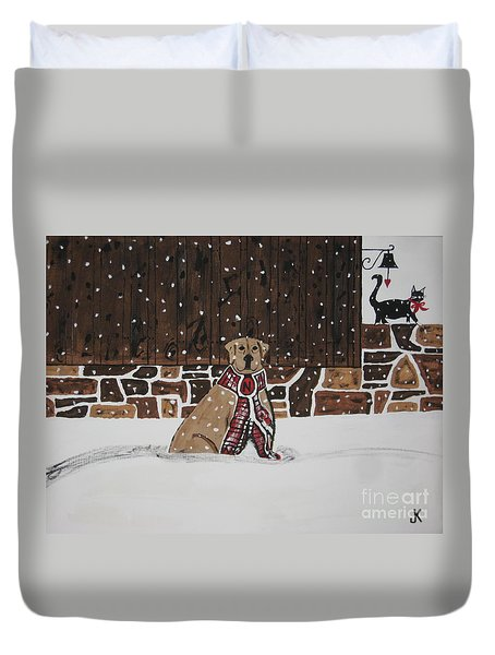 Duvet Cover featuring the painting Ring The Dinner Bell by Jeffrey Koss