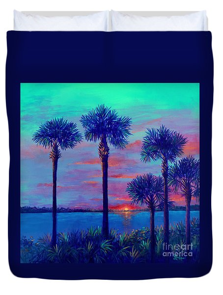 Ringling Bridge Sunset Duvet Cover