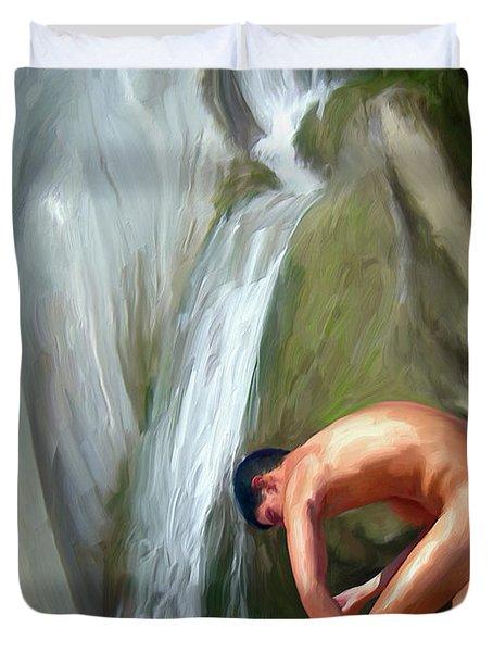 Rinsing Off Duvet Cover by Snake Jagger