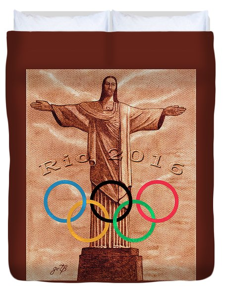 Duvet Cover featuring the painting Rio 2016 Christ The Redeemer Statue Artwork by Georgeta Blanaru