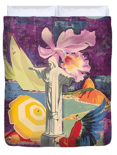 Rio Brazil  Varig Airlines Vintage 1955 Airline Travel Poster Duvet Cover