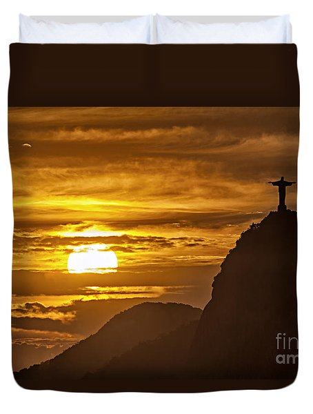 Duvet Cover featuring the photograph Rio De Janeiro Christ Statue by Juergen Held